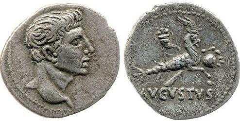 Srebrnjak cara Augusta - znak jarca (1.st.pr.ne)