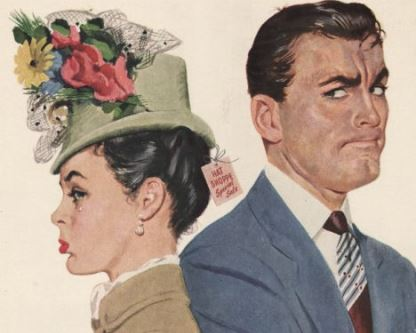 Brand: Arrow Decade: 1940s Origin: USA Keywords: arguments arguing shopping hats womens anger angry couples